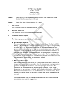 CRAFTON HILLS COLLEGE  Crafton Council  Minutes ‐ Draft