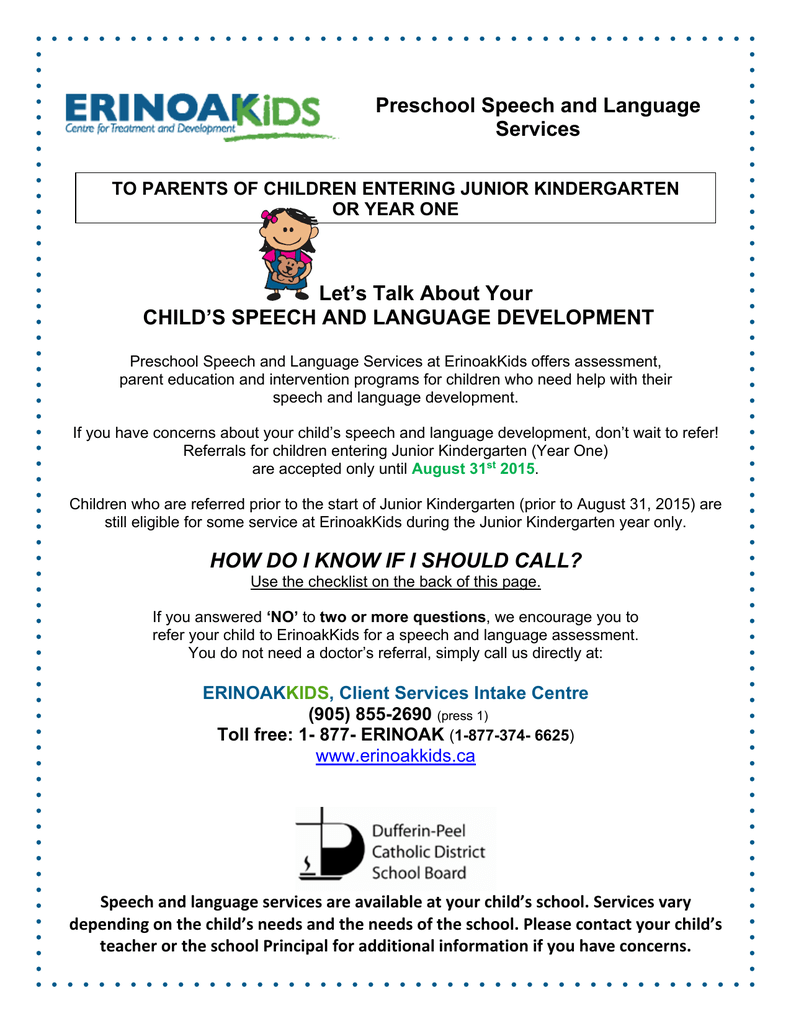 The Need For Services For Parents Of >> Preschool Speech And Language Services Let S Talk About Your