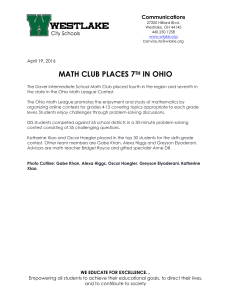 MATH CLUB PLACES 7 IN OHIO Communications TH