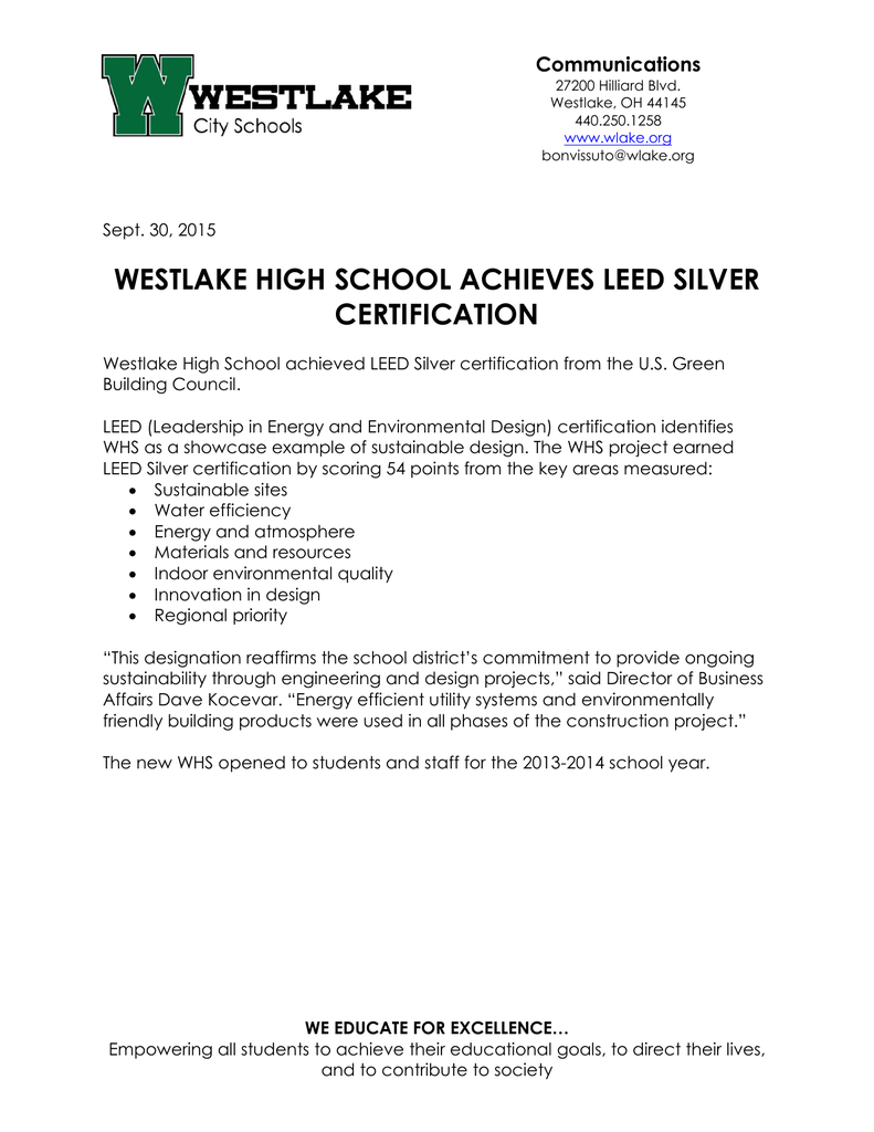 Westlake high school achieves leed silver certification communications 1betcityfo Image collections