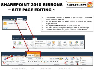 SHAREPOINT 2010 RIBBONS ~ SITE PAGE EDITING ~ 1. 2.