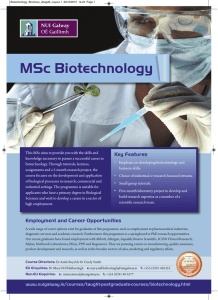 MSc Biotechnology Key Features
