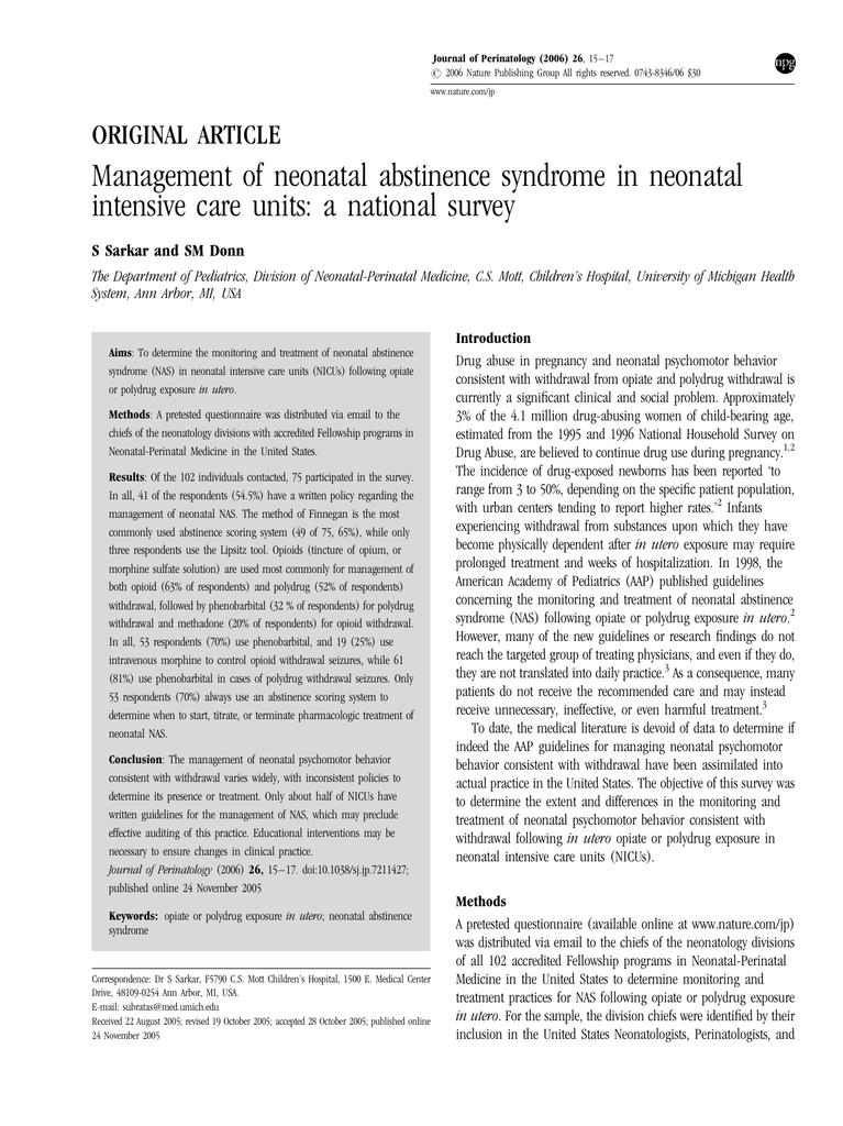 Management of neonatal abstinence syndrome in neonatal