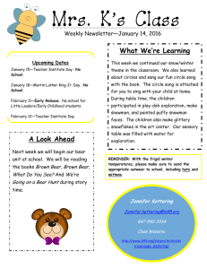 Mrs. K's Class What We're Learning Weekly Newsletter—January 14, 2016
