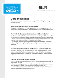 Core Messages What Meeting and Event Professionals Do