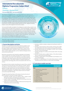 International Baccalaureate Diploma Programme Subject Brief Sciences: Chemistry—Standard level