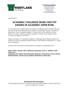 ACADEMIC CHALLENGE TEAMS TAKE TOP AWARDS IN ACADEMIC SUPER BOWL Communications