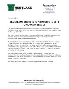 LBMS TEAMS SCORE IN TOP 3 IN OHIO IN 2014 Communications