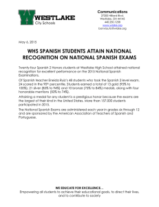 WHS SPANISH STUDENTS ATTAIN NATIONAL RECOGNITION ON NATIONAL SPANISH EXAMS Communications