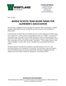 MIDDLE SCHOOL TEAM RAISES FUNDS FOR ALZHEIMER'S ASSOCIATION Communications