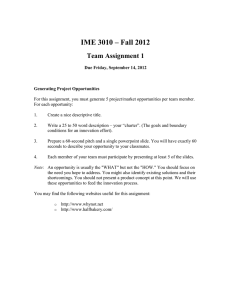 IME 3010 – Fall 2012 Team Assignment 1