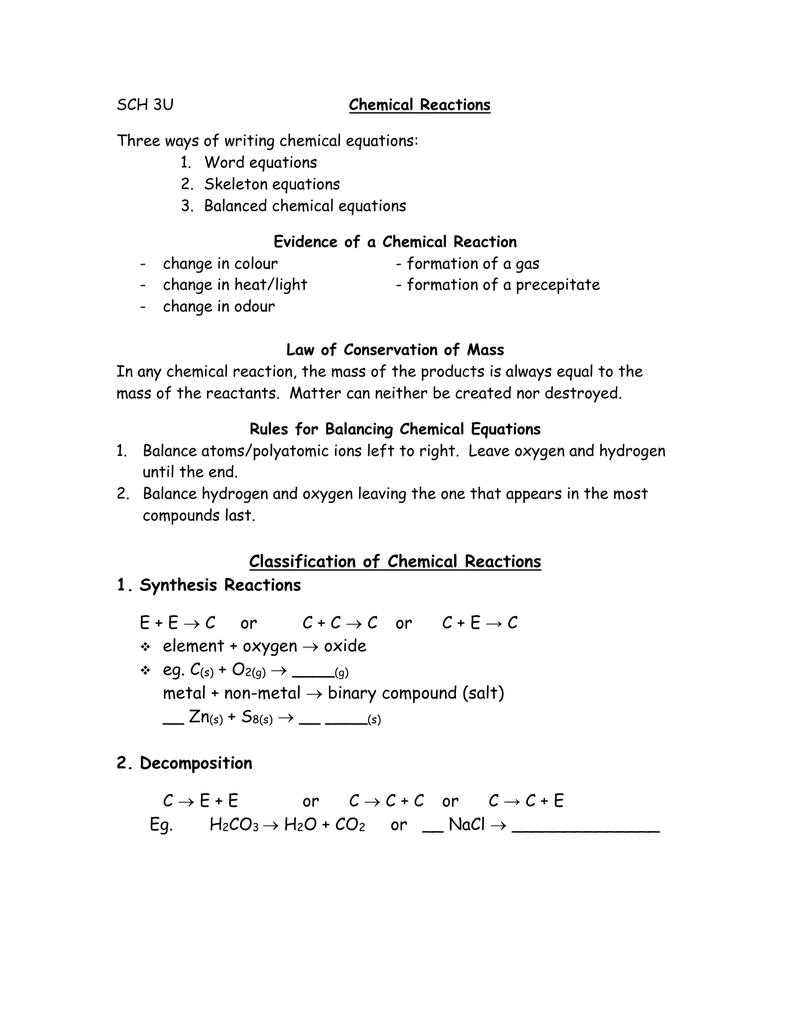 SCH 3U Three ways of writing chemical equations: 1. Word ...