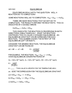 SCH 4U1 EQUILIBRIUM  EQUILIBRIUM DEALS WITH THE QUESTION:  WILL A