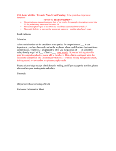 Transfer Non-Grant Funding UNL Letter of Offer / :