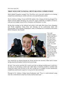 TROY WINS TOP NATIONAL MEN'S SKATING COMPETITION