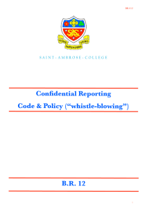 "Confidential Reporting Code & Policy (""whistle-blowing"") B.R. 12"