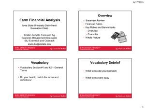 Farm Financial Analysis Overview