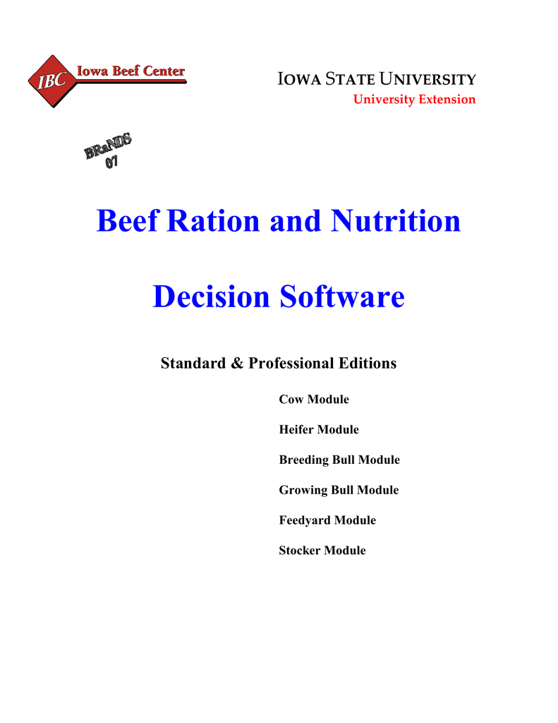 Beef Ration and Nutrition Decision Software I