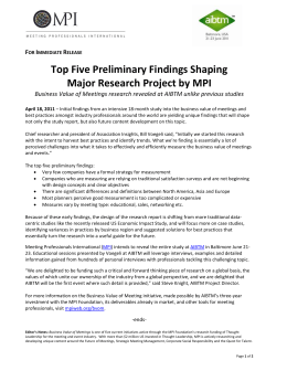 Top Five Preliminary Findings Shaping   Major Research Project by MPI    F