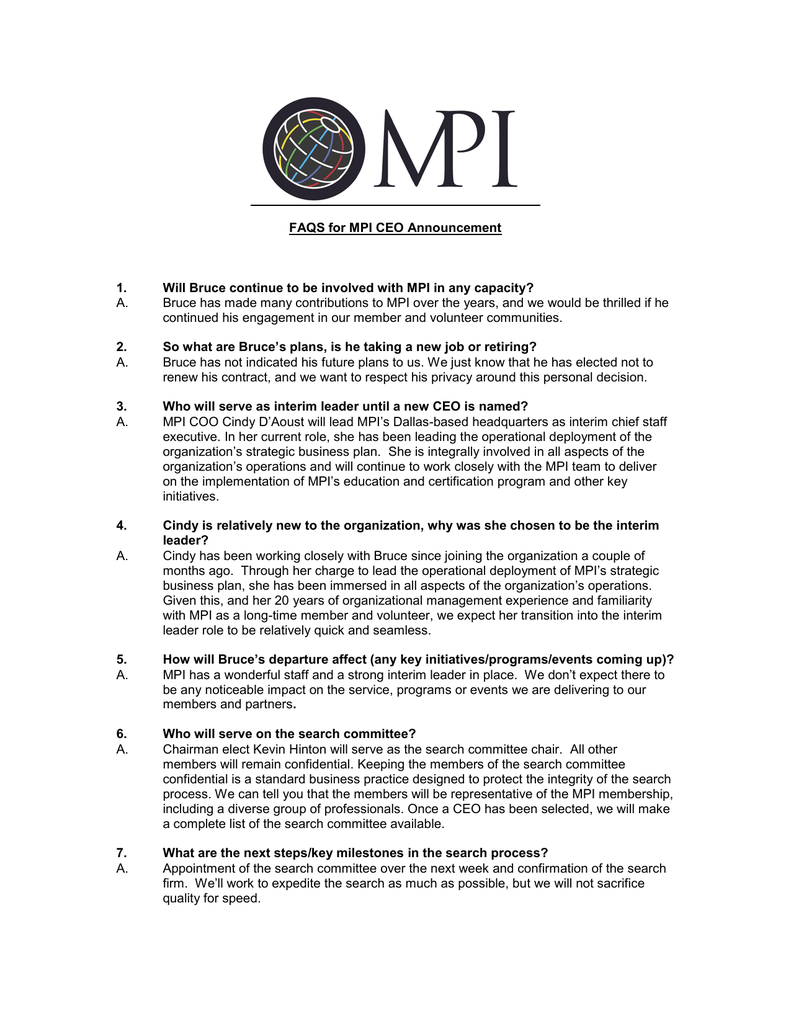 FAQS for MPI CEO Announcement 1