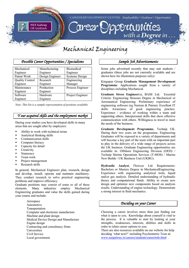 Mechanical Engineering Possible Career Opportunities Specialisms Sample Job Advertisements