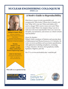 NUCLEAR ENGINEERING COLLOQUIUM A Noob's Guide to Reproducibility