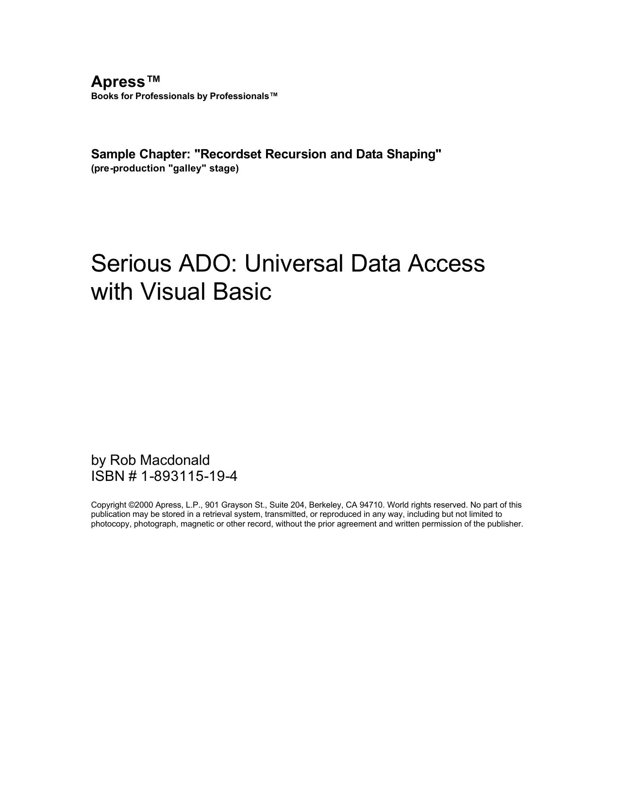 Serious ADO: Universal Data Access with Visual Basic Apress™
