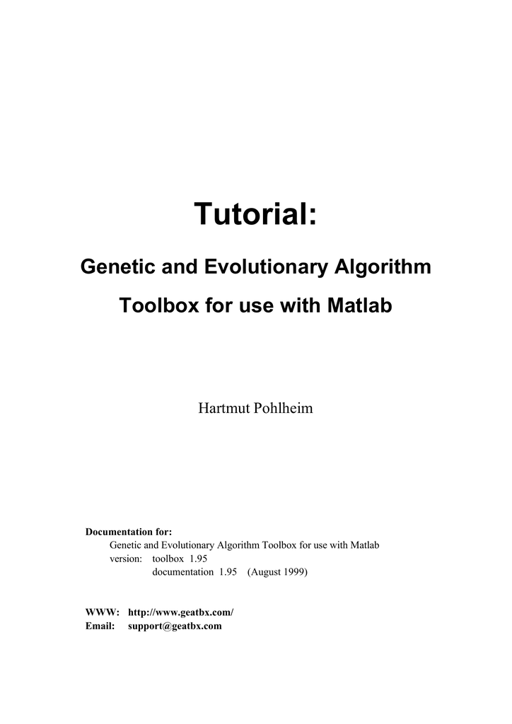 Tutorial: Genetic and Evolutionary Algorithm Toolbox for use