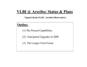 VLBI @ Arecibo: Status & Plans Outline: (1) The Present Capabilities