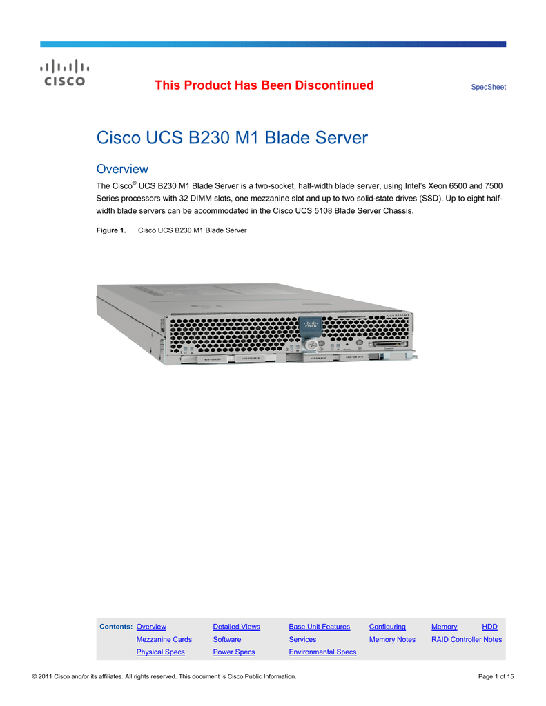 Cisco UCS B230 M1 Blade Server This Product Has Been Discontinued