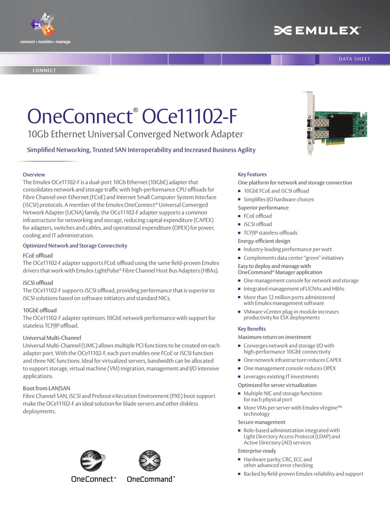 OneConnect ® Simplified Networking, Trusted SAN Interoperability and