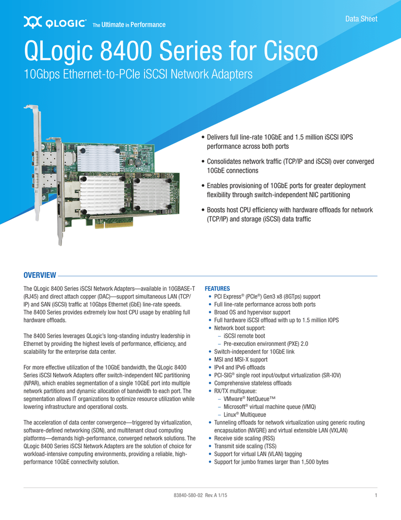 QLogic 8400 Series for Cisco Data Sheet