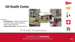 UH Health Center FY16 SFAC Presentation Presenters for Student Affairs-Health & Wellness,