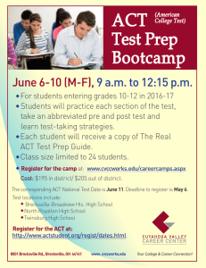 ACT Test Prep Bootcamp June 6-10 (M-F),
