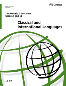 Classical and International Languages The Ontario Curriculum Grades 9 and 10