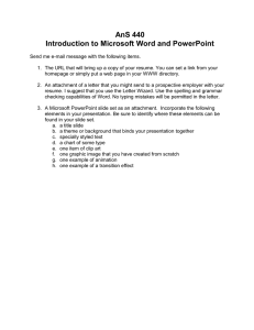 AnS 440 Introduction to Microsoft Word and PowerPoint