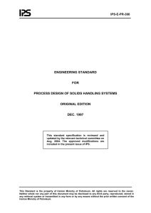 ENGINEERING STANDARD  FOR PROCESS DESIGN OF SOLIDS HANDLING SYSTEMS
