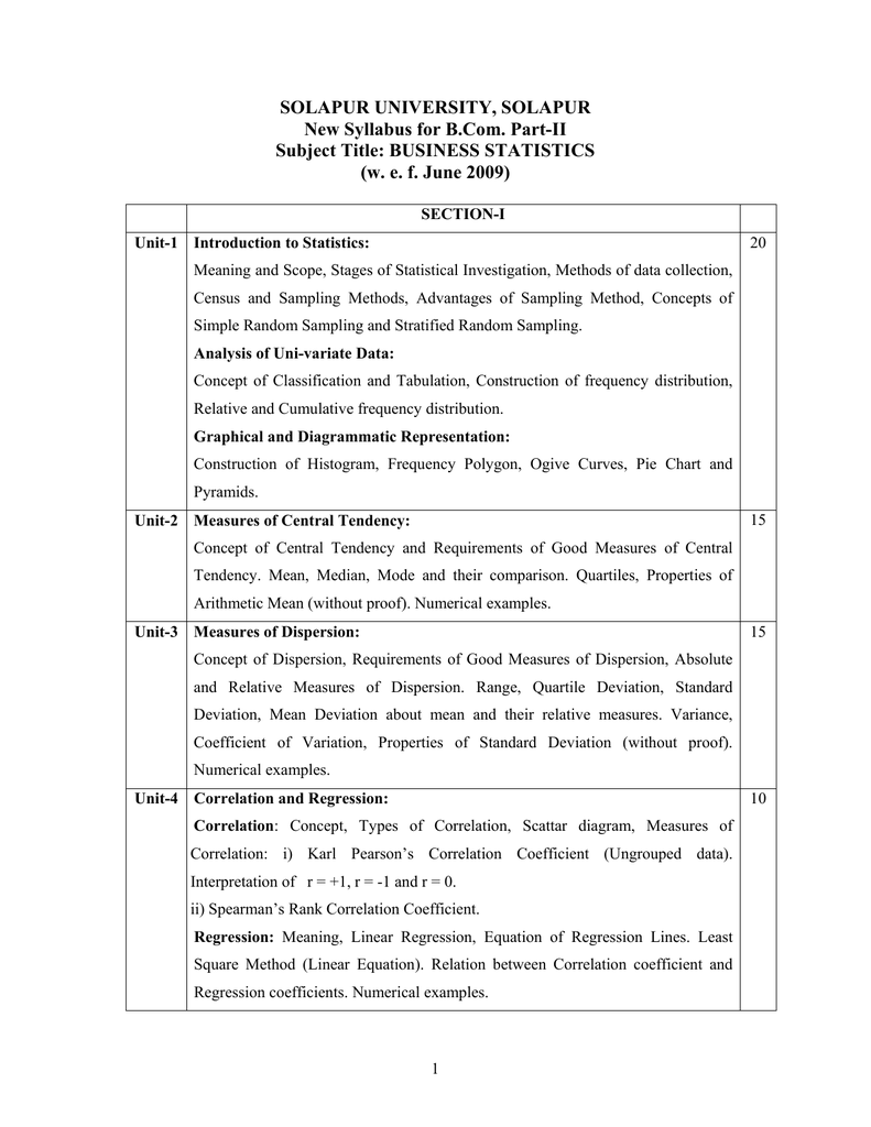Solapur University, Solapur New Syllabus For B Partii Subject Title:  Business Statistics Solapur University Standard Deviation