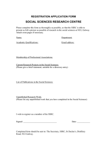 SOCIAL SCIENCES RESEARCH CENTRE REGISTRATION APPLICATION FORM