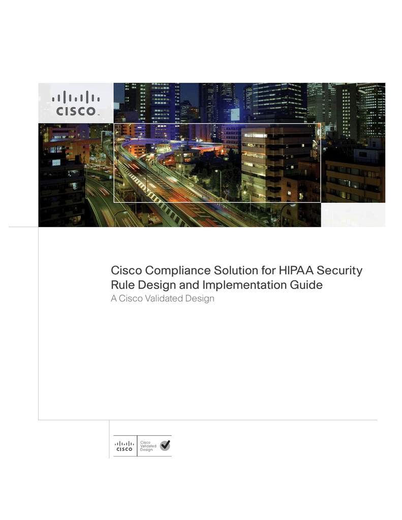 Cisco Compliance Solution for HIPAA Security Rule Design and