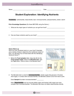 Student Exploration: Identifying Nutrients