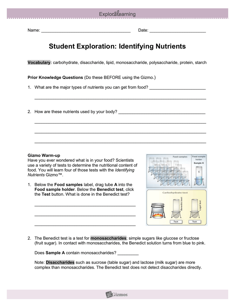 Student exploration identifying nutrients. ™ nutrients ...