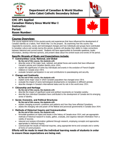 Department of Canadian & World Studies John Cabot Catholic Secondary School