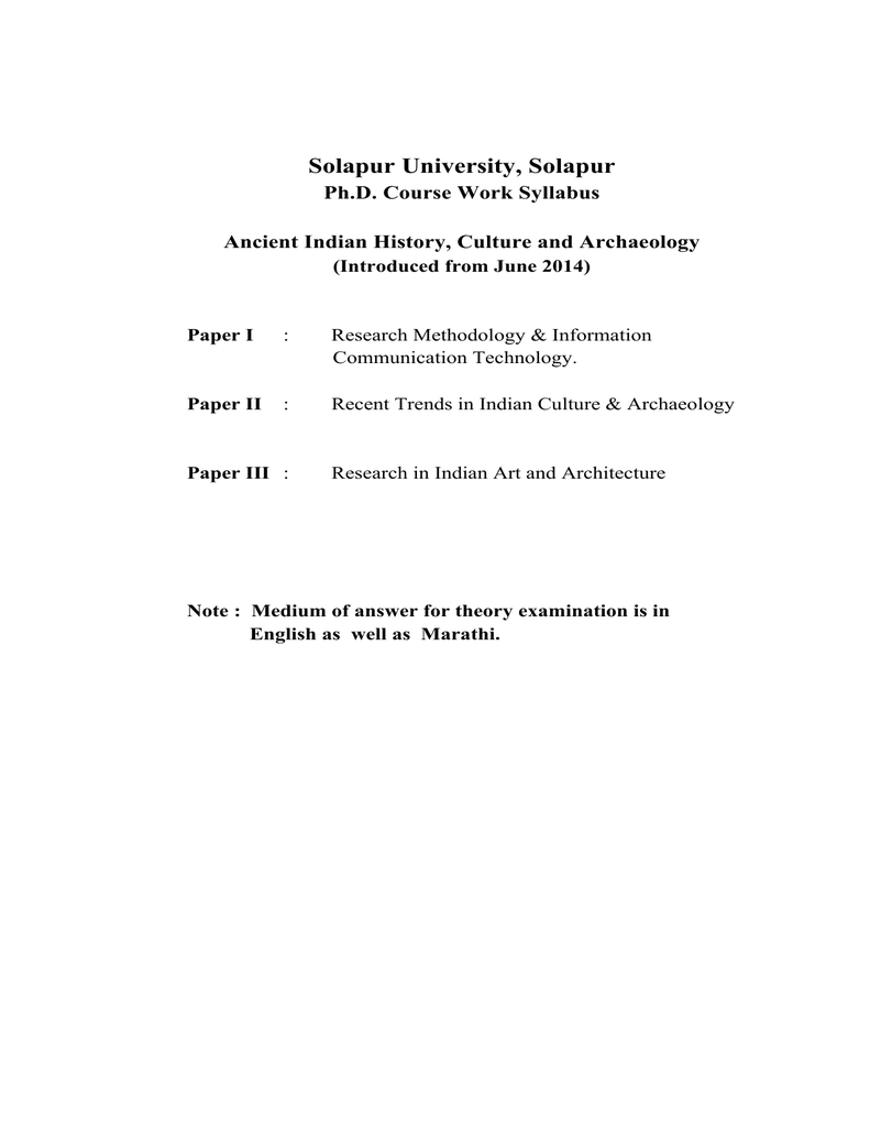 Solapur University, Solapur Ph D  Course Work Syllabus