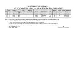 SOLAPUR UNIVERSITY SOLAPUR LIST OF REVALUATION RESULT FOR B.A.‐ III OCT/NOV ‐ 2015 EXAMINATION