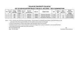 SOLAPUR UNIVERSITY SOLAPUR LIST OF REVALUATION RESULT FOR M.A. OCT/NOV ‐ 2015 EXAMINATION