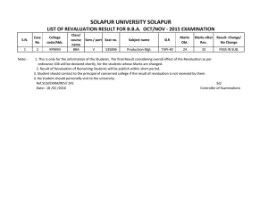 SOLAPUR UNIVERSITY SOLAPUR LIST OF REVALUATION RESULT FOR B.B.A.  OCT/NOV ‐ 2015 EXAMINATION