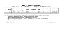 SOLAPUR UNIVERSITY SOLAPUR LIST OF REVALUATION RESULT FOR B.C.A. OCT/NOV ‐ 2015 EXAMINATION