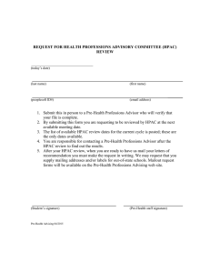 REQUEST FOR HEALTH PROFESSIONS ADVISORY COMMITTEE (HPAC) REVIEW