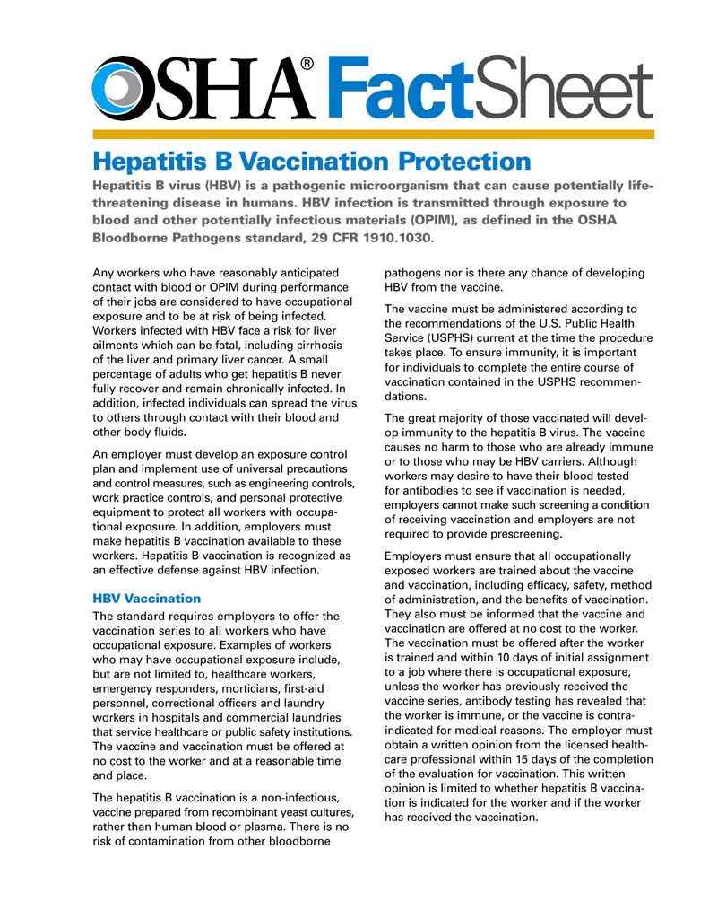 Fact Sheet Hepatitis B Vaccination Protection